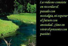 La vida no consiste en recordar el pasado con nostalgia, ni esperar el futuro con ansiedad, sino en vivir el presente con pasión