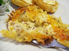 Amish Breakfast Casserole from Food.com: This is a recipe that I found in Taste of Home Magazine. This is a hearty filling breakfast and so tasty!!! You can change the bacon to ham or sausage and add red/green pepper if you like.