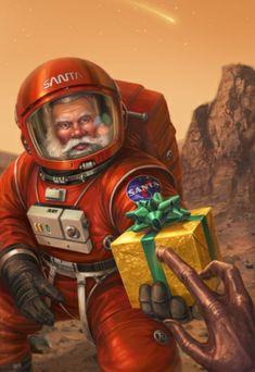Christmas Images, Christmas Art, Xmas, Christmas Comics, Christmas Design, Christmas Illustration, Illustration Art, Arte Alien, Aliens And Ufos