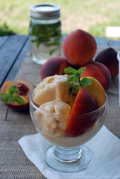 Peach and Mint Sorbet