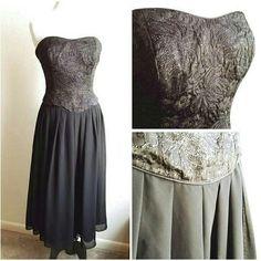 "*vintage* black strapless shimmer dress black shimmer top dress with a flowy bottom, tea length if your 5'5""+ or floor length if around 5'. Brand: Oprea. Size: S/M (L:42"" B:17:"" W:16.5"") - #128 Vintage Dresses"