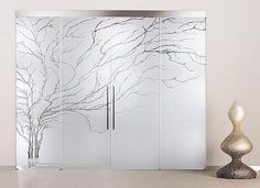 tree etched on glass