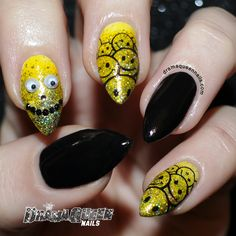 Googlies! Yellow base is Lime Crime - Crema de limon + sponged on glitter which I hand mixed using a combo of OPI Color paints - Primarily Yellow and FUN Lacquer - Queen (being able to make any colour glitter with color paints is flippin awesome btw). Stamped with Hit The Bottle - Black as night and Bundle monster plate 304. GOOGLIES!! Oh yeah....I have pointies now :P xx #nails  #nailart  #aussienails #happy  #smile #nailstamping  http://goo.gl/BSCW24