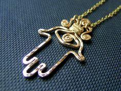 14k GF handcrafted HAMSA pendant necklace