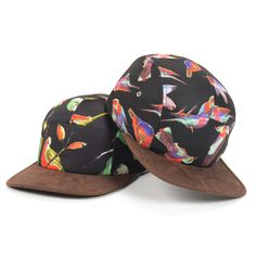 5 Panel Camp Hat Birds Print Black Headgear Baseball Cap Snapback Goldtop #Goldtop #BaseballCap
