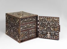 """Indo-Portuguese table cabinet """"Ventó"""" Teak, ebony, other exotic woods, ivory, green-dyed ivory, gilt copper fittings. Indo-Portuguese , Mugh..."""