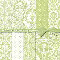 Soft Green Damask - Instant Download, Digital damask paper, damask patterns, damask background, wedding invitations, scrapbook paper, green