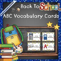 Back to School ABC ESL Vocabulary Flashcards