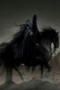Another look at the possibility of the Grim Reaper being one of the four horsemen of the Apocalypse. From what I could tell it was one of the largest arguments of who the Grim Reaper is. Dark Fantasy Art, Dark Art, Grim Reaper Art, Legolas, Dark Creatures, Horsemen Of The Apocalypse, Arte Horror, Gif Animé, Monsters
