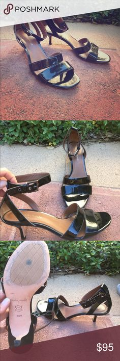 """Donald J Pliner Sandals 😍 classy 🥂💕👠 Donald J Pliner heeled sandals • black • shiny • ankle strap with silver buckle • 2"""" heel • vero cuoio stamp • leather • great conditions • show very little wear - only on the bottom #ithriftforyou #donaldjpliner #sandals #summer #black #blacksandals #shoes #anklestrap #heels #verocuoio #leather #dress #casual Donald J. Pliner Shoes Sandals"""