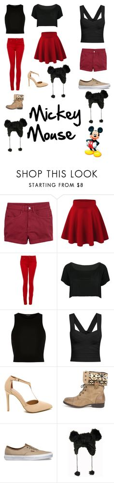 """""""Mickey Mouse"""" by sup-its-alex-peace ❤ liked on Polyvore featuring Paige Denim, WithChic, River Island, DbDk and Vans"""