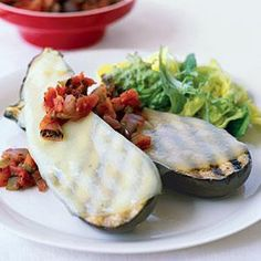 For an elegant alfresco dinner that's still easy on the prep time, make a main dish featuring grilled eggplant topped with melted provolone cheese. Top with grilled salsa and pair with a small green salad for a pleasing summer dinner in about 30 minutes.