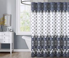 "Aaliyah Faux Silk Cobalt Blue, Black & Gray Shower Curtain, (72"") at Big Lots."