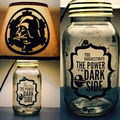 Beautifully hand crafted mason jar lamp inspired by Darth Vader. This listing includes the base, lighting fixture, and shade (silhouette is only
