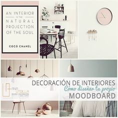 CÓMO HACER UN MOODBOARD – Diseño e Interiorismo Online Coco Chanel, Mood Boards, Design Projects, Gallery Wall, Design Inspiration, Interior Design, Home Decor, Houses, How To Make