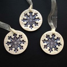 Purple crackle ceramic snowflake decorations £7.00