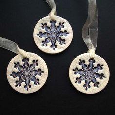 Purple crackle ceramic snowflake decorations £7.00
