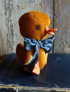 Vintage Velvet Duckling: made from vintage velvet in a vintage style, soft sculpture, fabric art doll animal (duck) by Pennybright studios.