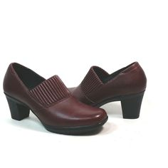 581858880 Clarks Bendables 8.5 M Leather Burgundy Casual Pumps Slip On Block Heels  Shoes