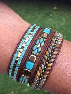 Super duo tri-wrap bracelet by Martha. Bead Jewellery, Beaded Jewelry, Handmade Jewelry, Jewelry Patterns, Bracelet Patterns, Leather Bracelet Tutorial, Super Duo Beads, Beaded Leather Wraps, Estilo Hippie