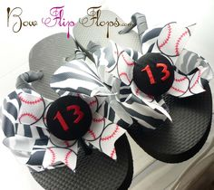 Baseball Flip Flops Bow Number Softball  Monogrammed Mom Girl Boutique Sports Ribbon Flip Flops choose your ribbon and team colors. $27.50, via Etsy.