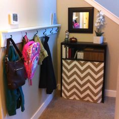 Entryway organization. It still needs some work, but it is getting closer.