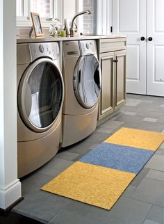 Our carpet squares make the perfect laundry room rug!