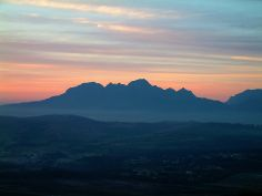 A sunset scene from the top of the Sir Lawrey's Pass near Gorden's Bay, South Africa.