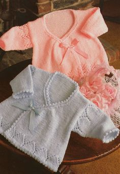 ca9ca0499 knitting pattern PDF for baby girls wrap cardigans in sizes 14 16 and 18  inch chest newborn premature