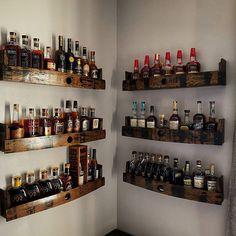 Home Bar Rooms, Diy Home Bar, Bars For Home, Alcohol Storage, Liquor Storage, Bar Shelves, Liquor Shelves, Whiskey Gifts, Bourbon Gifts