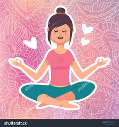 Vector flat illustration of girl doing relaxing meditation in yoga lotus asana pose (yoga position) on elegant lace pink gradient background. Yoga Studio Design, Lotus Yoga, Yoga Positions, Gradient Background, Yoga For Men, Illustration Girl, Asana, Disney Characters, Fictional Characters