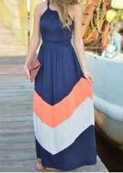 b4f68bd62c Bohemian Halter Sleeveless Color Block Women s Dress Boho Dress