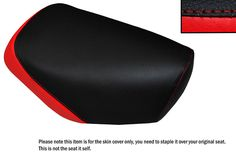 RED & BLACK CUSTOM FITS YAMAHA JOG CG 50 LONG FRONT LEATHER SEAT COVER ONLY
