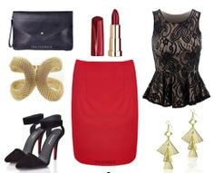 Look red hot in our sexy pencil skirt. The bodycon design means it's fitted and flattering while the eye-catching colour is sexy and seductive. This skirt goes perfectly with our lace top that features a peplum fit to create some killer curves. Finish with some on-trend pointed heels, a chic black clutch and some glam gold jewellery.