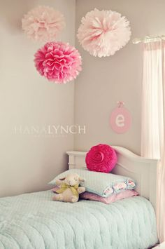 girls bedroom - duck egg blue & pink. Gorgeous