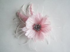 Light Pink Feather Flower Fascinator - Small Bridal Feathe Flower - Feather Fascinator on Etsy, $49.95