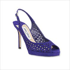 JIMMY CHOO The perforated suede and vibrant purple hue kick these slingbacks up a notch.   $895