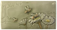 Ceramic tile, Workin for a Livin, art tile, 4 x 8 inches, honey bees by MedicineBluffStudio on Etsy Glass Ceramic, Ceramic Art, Tile Art, Mosaic Tiles, Craftsman Tile, Artistic Tile, Storybook Cottage, Bee Gifts, Bee Design