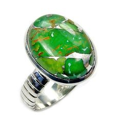 Lime Mohave Turquoise & .925 Sterling Silver by TheSilverPlaza