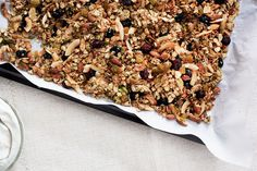 A Better Granola from Bon Appetit.  Egg white acts as a binder to make it form larger chunks.  I like the list of ingredients