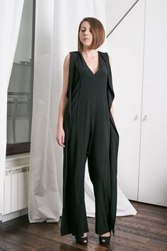 """Overall Minimalist Black """" Jolie """" Overall, Casual Black Jumpsuit, Full Body Length Overall, Quality Italian Fabric, 02C15-00100"""