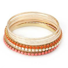 C07332 ornge white peach bangle