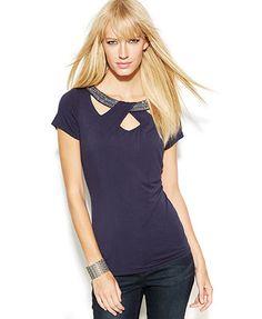 INC International Concepts Embellished Cutout Cap-Sleeve Top