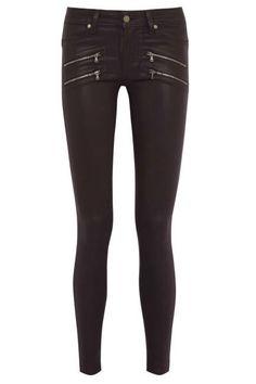 The Coated Skinny Paige Edgemont Aged Woodberry Coated Mid-Rise Skinny Jeans, $289;  Read more: 100 Denim and Jeans Trends for 2013 - Womens Designer Denim - ELLE  Follow us: @ElleMagazine on Twitter | ellemagazine on Facebook  Visit us at ELLE.com