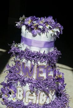 Diaper Cake for baby shower, 3 tier lavender