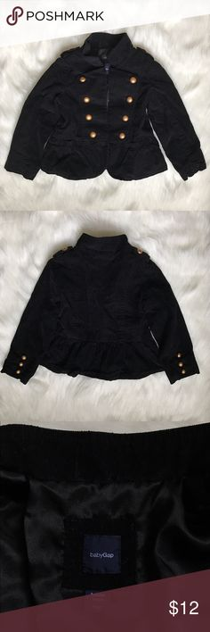 Baby Gap Black Military Style Jacket Toddler 3 Yr Gently used Baby Gap Jacket. This jacket is designed to be worn open! Does NOT button up!   Brass/Gold button  Fully lined  Exterior 100% Cotton Polyester Lining    ❌I do NOT trade ❌ 🛍10% off 2+ item bundles 📸Instagram @Yami.Boutique (Exclusive Pop Up Discount codes ONLY for my followers!) GAP Jackets & Coats Blazers