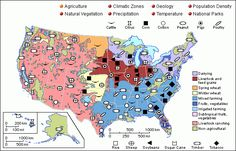 This map shows the different types of agriculture in the United States. Different types of agriculture are used in specific regions of the nation based on the climate and soil quality in each areas. (3rd)