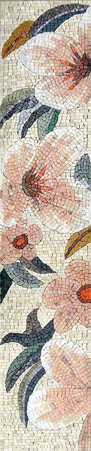 """Flowers - by Phoenician Arts;  hand-made with natural stones and hand-cut decorative tiles;  12"""" x 59"""";  photo by Phoenician Arts, via Flickr"""