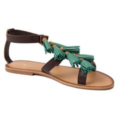 Green Tassel Sandals ($89) ❤ liked on Polyvore featuring shoes, sandals, green flat shoes, leather shoes, leather sandals, summer sandals and green shoes
