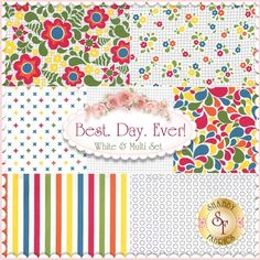 """Best. Day. Ever! is a collection by April Rosenthal for Moda Fabrics. This set contains 7 fat quarters, each measuring approximately 18"""" x 21""""."""